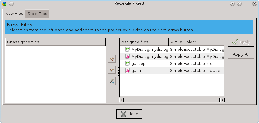 ReconcileProject dialog after files have been provisionally allocated